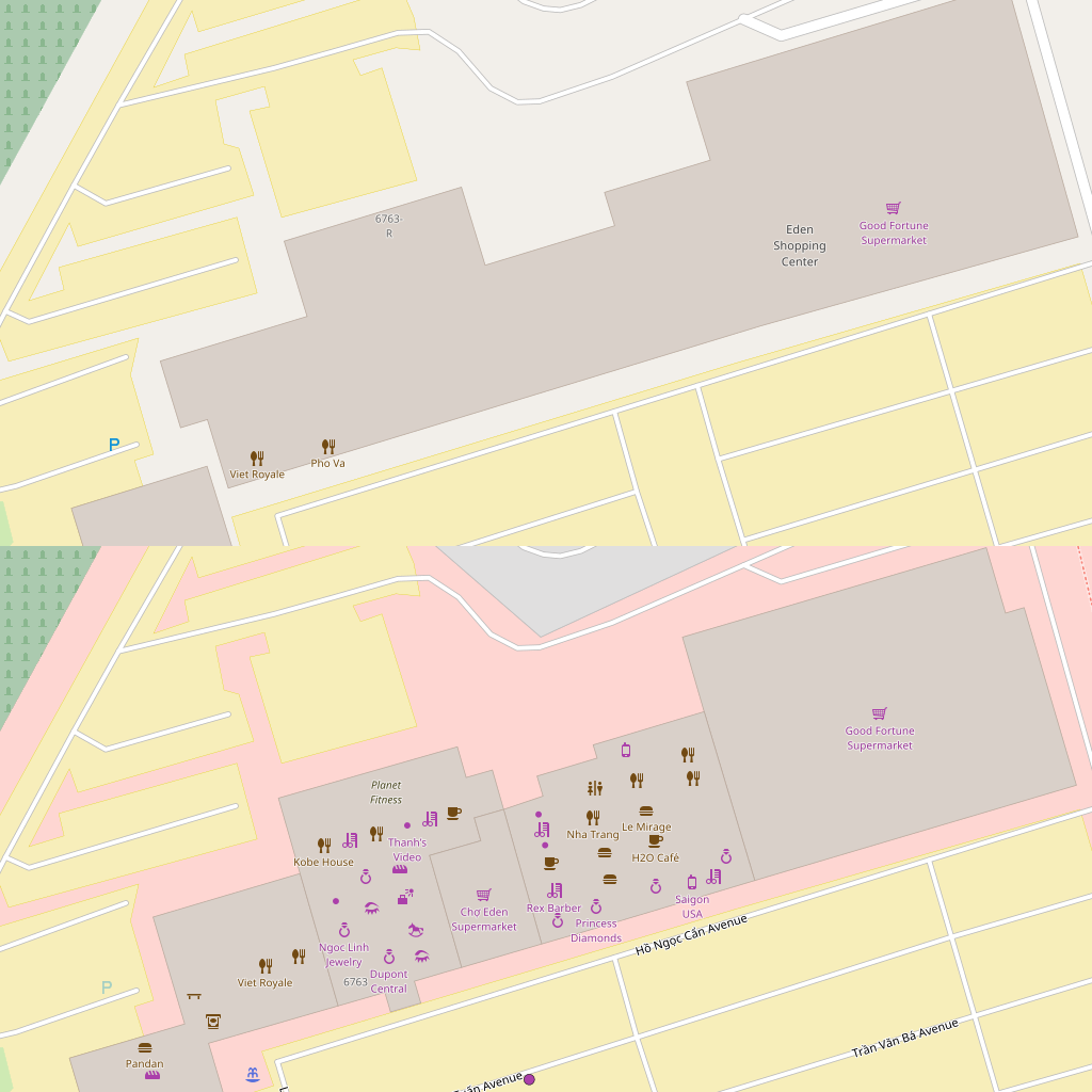 Eden mini-malls on OpenStreetMap, before and after