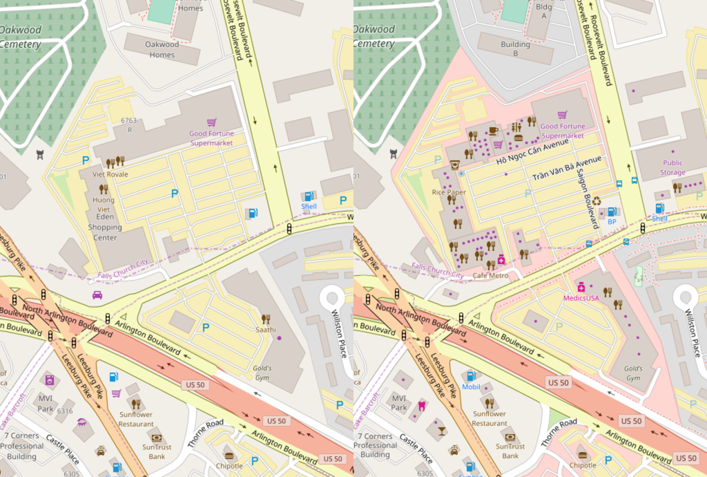 Eden Center on OSM, before and after